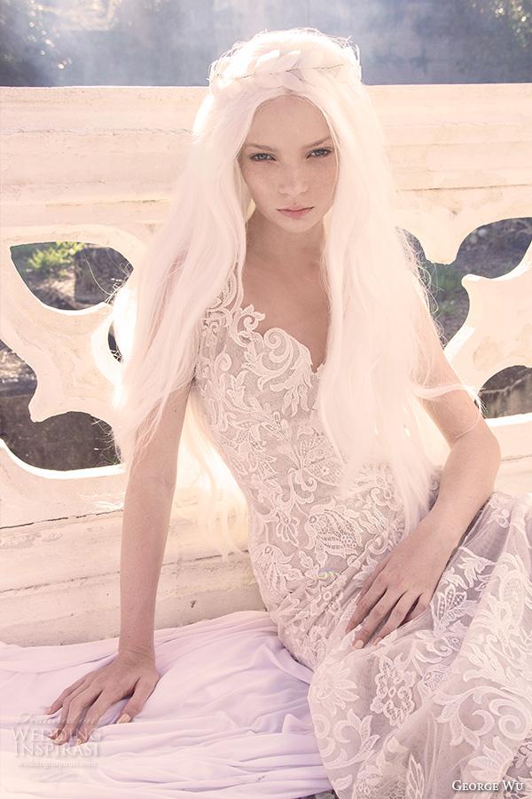 george wu 2016 bridal gowns v neckline full embellished lace elegant sheath wedding dress (bacchus) mv