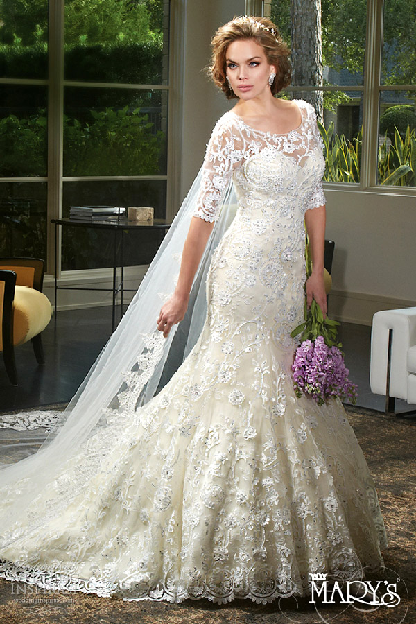 Mary S Bridal Spring 2016 Sweetheart Illusion Scoop 3 Quarter Sleeves Fit Flare Lace Wedding Dress