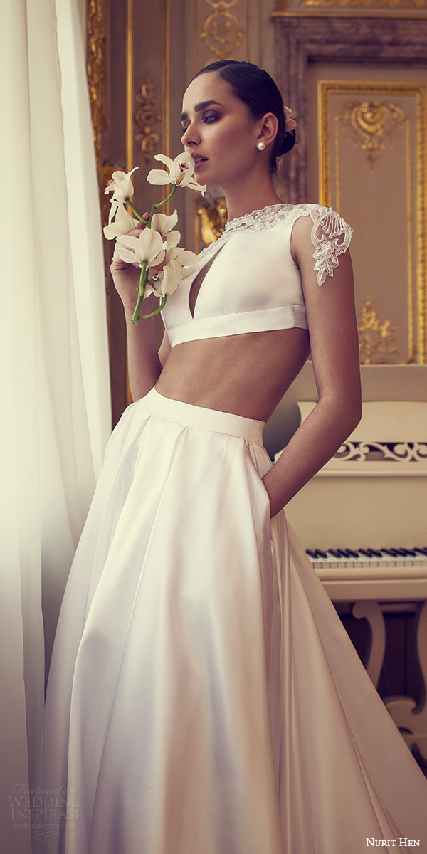 nurit hen 2016 bridal cap sleeves illusion crop top a line wedding dress (16) mv pocket