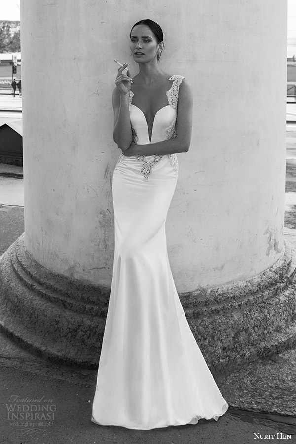 nurit hen 2016 bridal flutter sleeveless split sweetheart trumpet wedding dress (17) fv