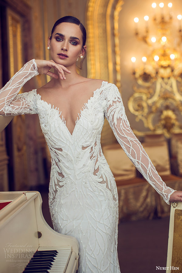 nurit hen 2016 bridal illusion long sleeves deep v neck sheat wedding dress (13) elegant mv