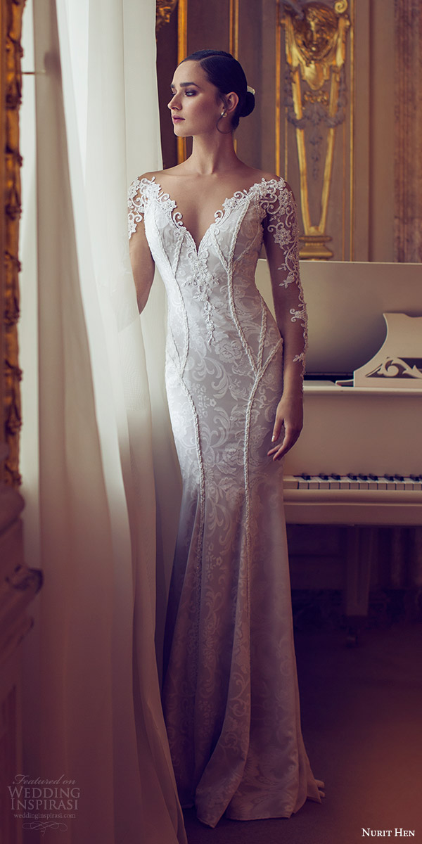 nurit hen 2016 bridal illusion long sleeves off shoulder sweetheart sheath wedding dress (11) elegant mv