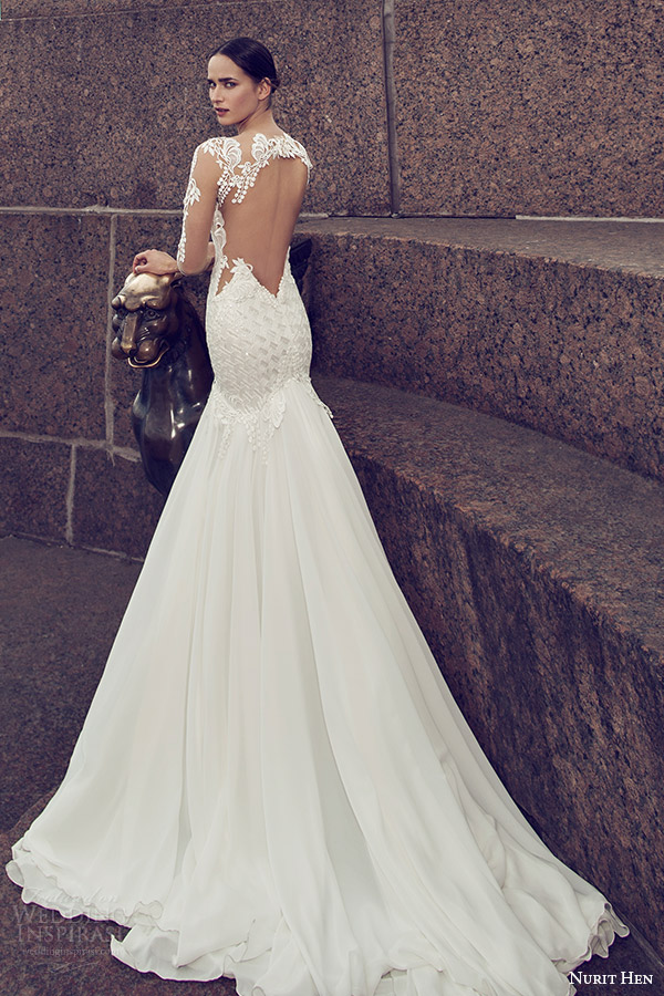 nurit hen 2016 bridal illusion long sleeves split sweetheart neckline mermaid embellished bodice sexy glam wedding dress (05) bv illusion back