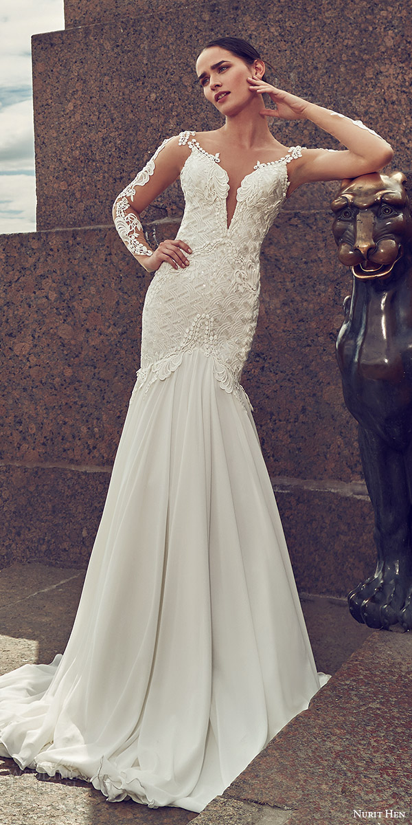 nurit hen 2016 bridal illusion long sleeves split sweetheart neckline mermaid embellished bodice sexy glam wedding dress (05) mv