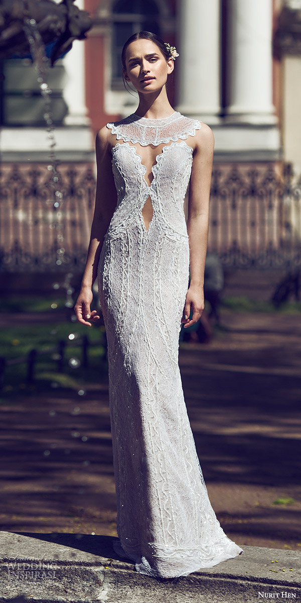 nurit hen 2016 bridal sleeveless split sweetheart neckline illusion jewel sheath wedding dress (14) sexy mv