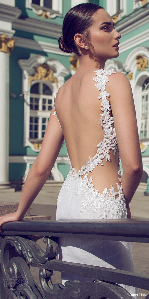 nurit hen 2016 bridal sleeveless sweetheart lace straps sheath wedding dress (02) sexy elegant zbv open back