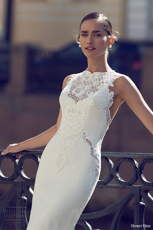 nurit hen 2016 bridal sleeveless sweetheart neckline illusion jewel lace sheath fully beaded wedding dress sexy (03)