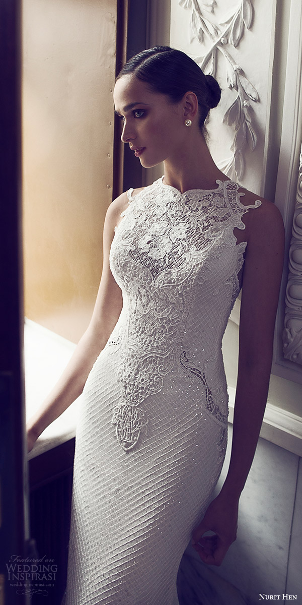nurit hen 2016 bridal sleeveless sweetheart neckline illusion jewel lace sheath fully beaded wedding dress sexy (03) fv