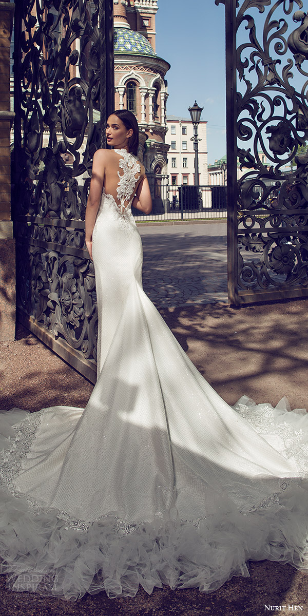 nurit hen 2016 bridal sleeveless sweetheart neckline illusion jewel lace sheath fully beaded wedding dress sexy (03) mv