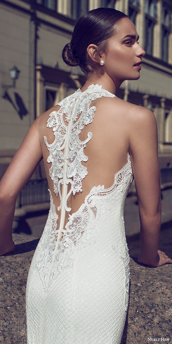 nurit hen 2016 bridal sleeveless sweetheart neckline illusion jewel lace sheath fully beaded wedding dress sexy (03) zbv