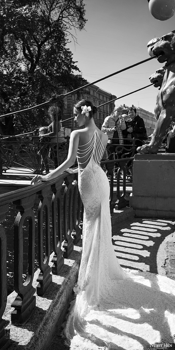 nurit hen 2016 bridal sleeveless sweetheart neckline illusion jewel lace sheath wedding dress sexy (01) bv