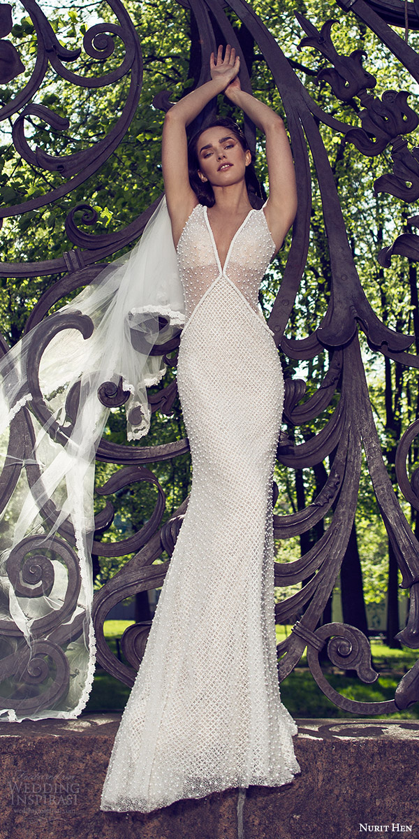 nurit hen 2016 bridal sleeveless thick straps v neck sheath wedding dress (17) sexy elegant mv