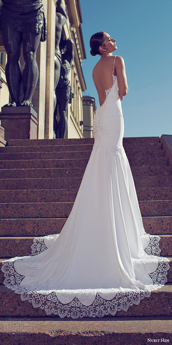 nurit hen 2016 bridal sleeveless thin straps semi sweetheart sheath wedding dress (18) mv open back