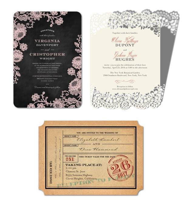 Wedding paper divas invitations that are true to the two of you wedding paper divas invitation cards chalked affair classic devotion ticket to bliss romantic invites junglespirit Gallery