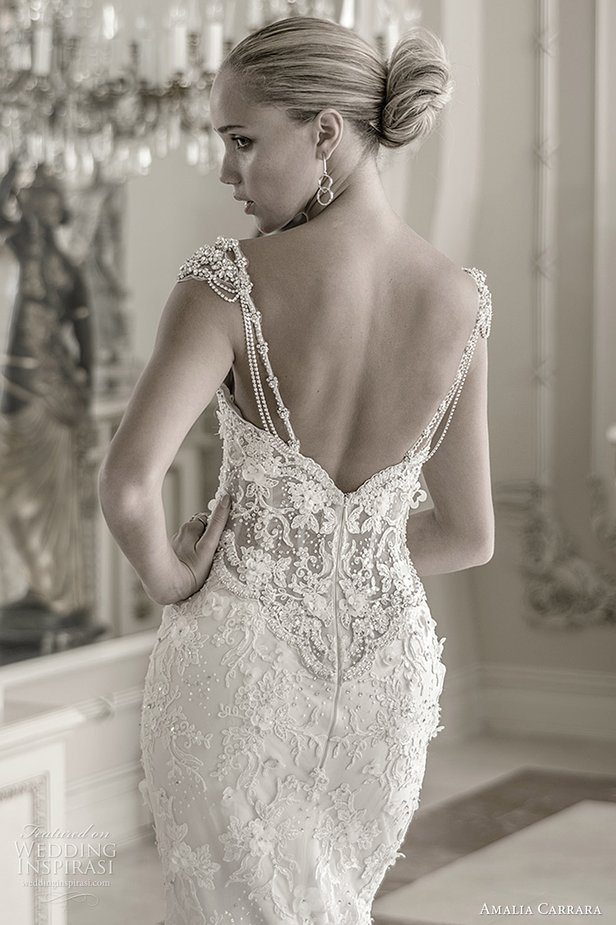 amalia carrara spring 2016 bridal cap sleeves embellished straps sweetheart mermaid beaded wedding dress (341) bv illusion back