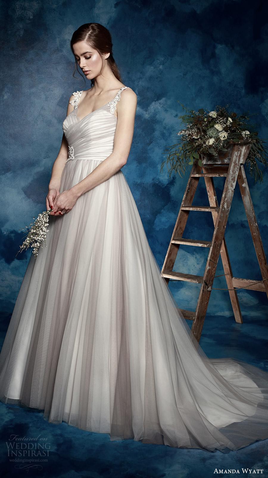 amanda wyatt bridal 2017 sleeveless lace straps vneck ruched surplic ...