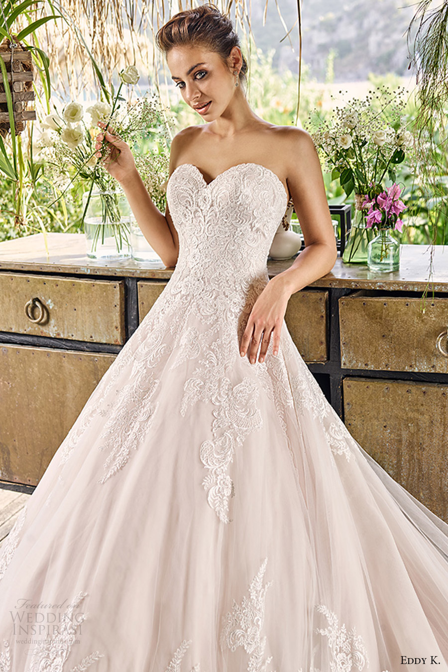 eddy k bridal 2017 strapless sweetheart aline ball gown lace wedding dress (napa) fv romantic elegant
