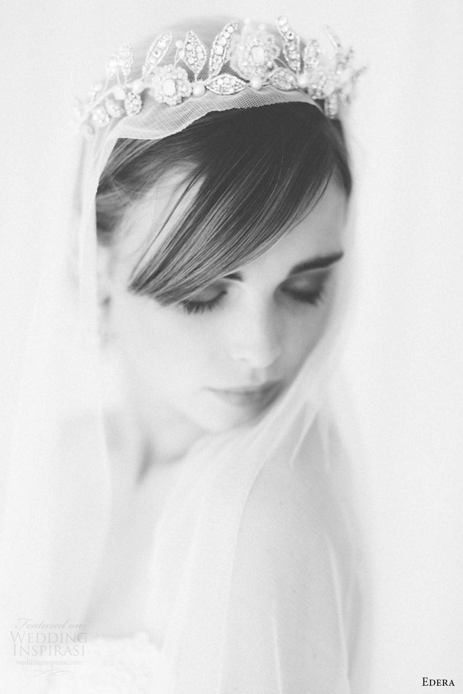 edera jewelry 2016 bridal accessories collection (aquarelle) tiara fv romantic bw