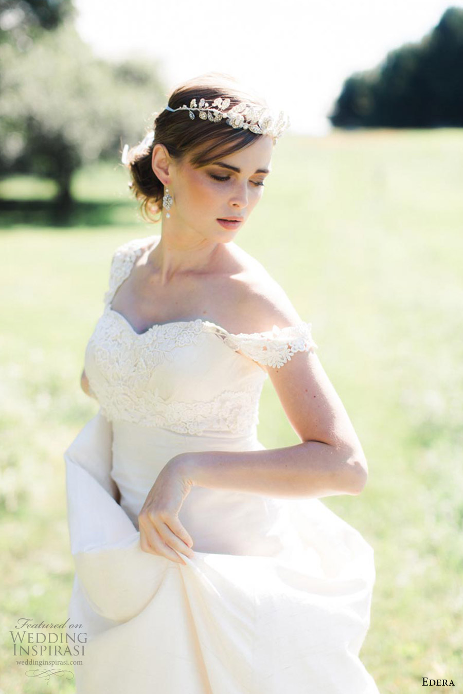 edera jewelry 2016 bridal accessories collection (aquarelle) tiara mood gown outdoor ashley largesse photography