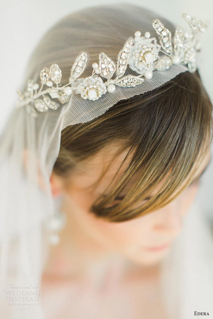 edera jewelry 2016 bridal accessories collection (aquarelle) tiara top down view hair