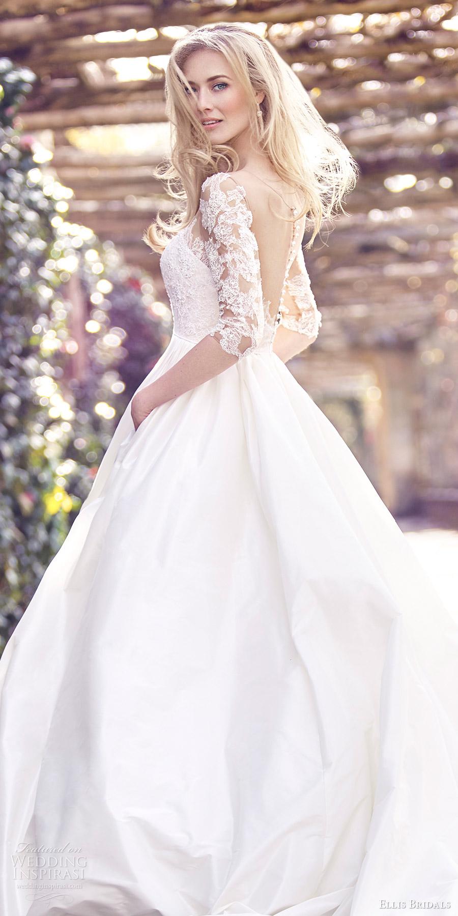 Ellis Bridals 2016 3 Quarter Sleeves Sweetheart Illusion Jewel Corset Ball Gown Wedding Dress 18023