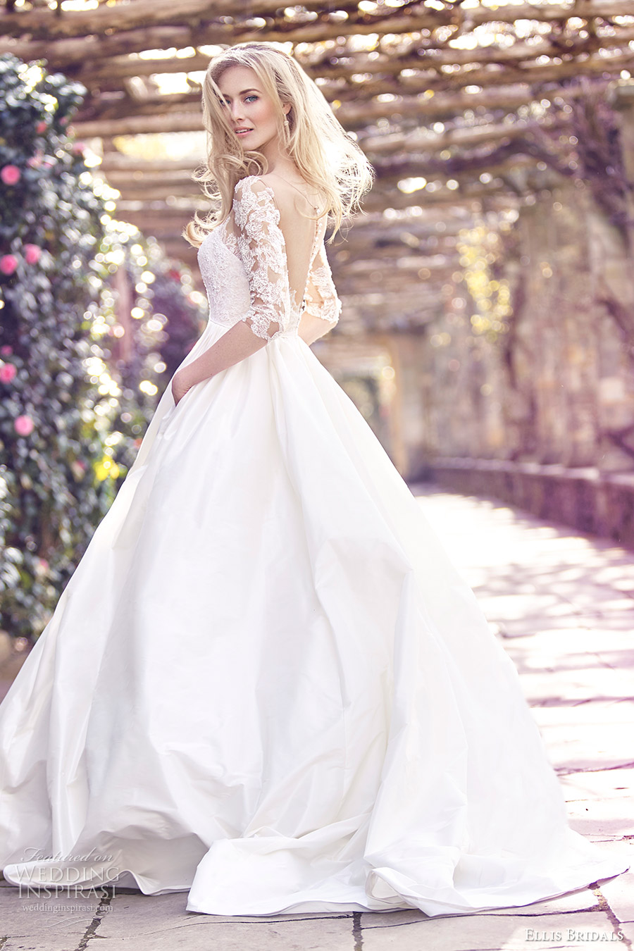 ellis bridals 2016 3 quarter sleeves sweetheart illusion jewel corset ball gown wedding dress (18023) mv sheer back buttons romantic princess