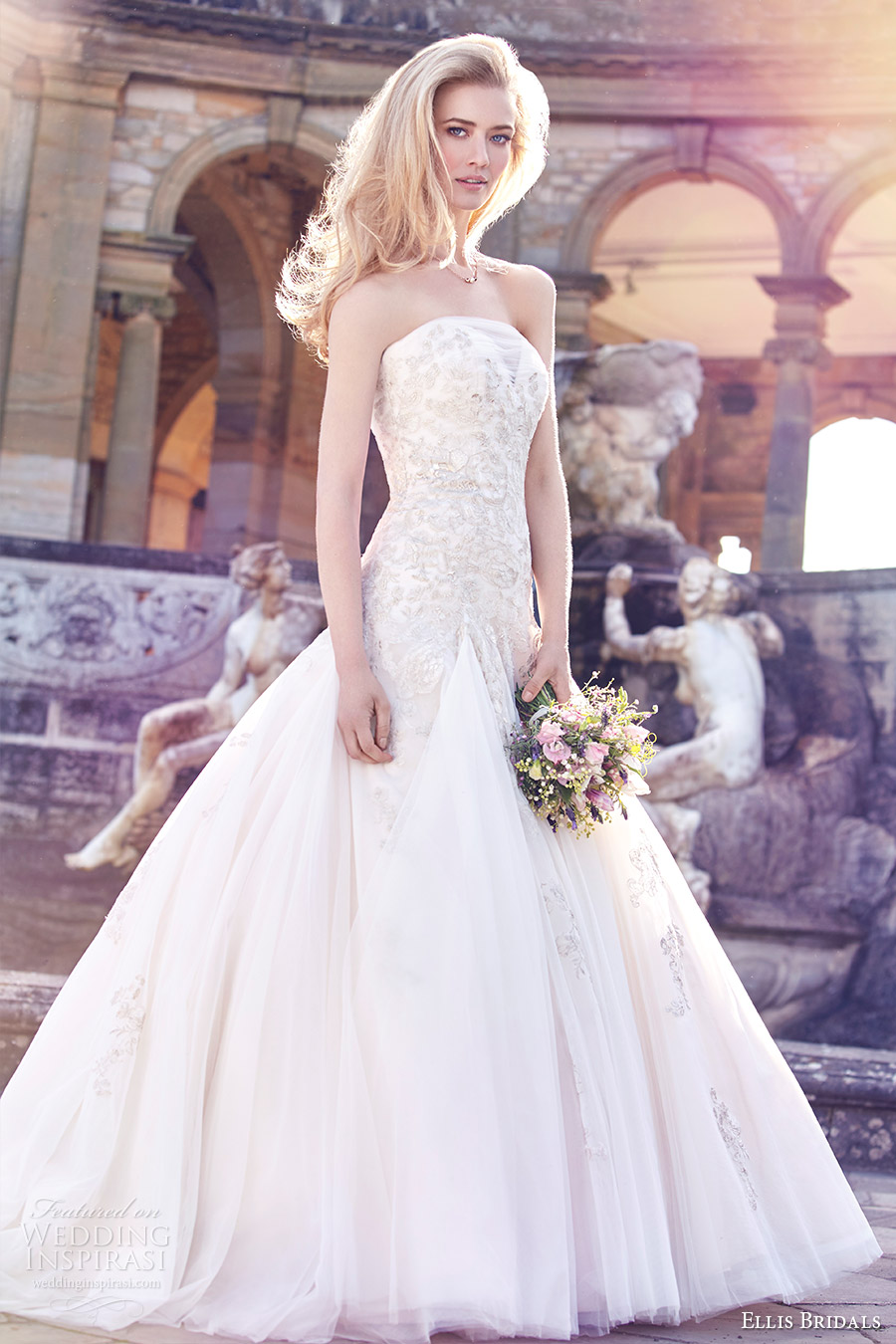 ellis bridals 2016 strapless straight across fit flare metallic lace wedding dress (11449) mv romantic godet skirt