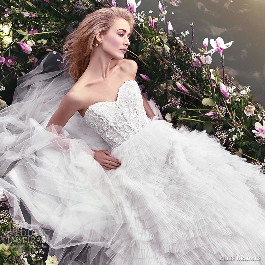 ellis bridals 2016 strapless sweetheart corset a line wedding dress (18021) ruffle skirt fv romantic