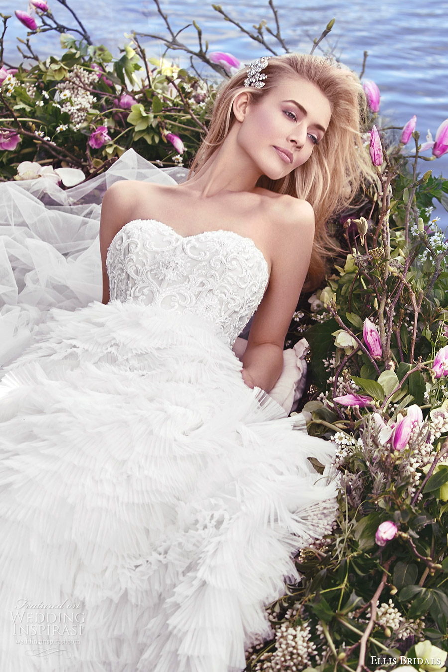 ellis bridals 2016 strapless sweetheart corset a line wedding dress (18021) ruffle skirt mv romantic