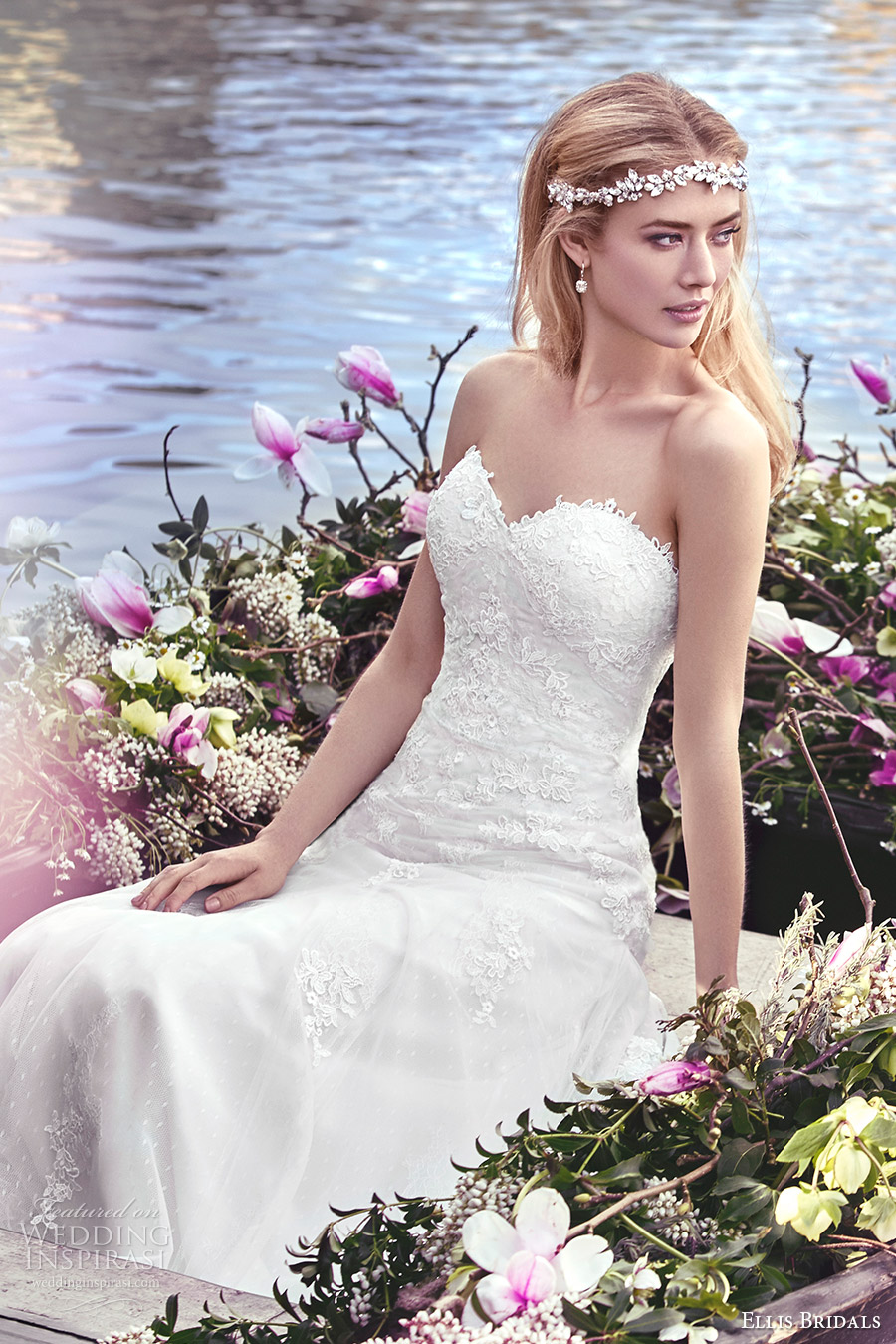 ellis bridals 2016 strapless sweetheart trumpet lace wedding dress (11442) mv romantic godet skirt