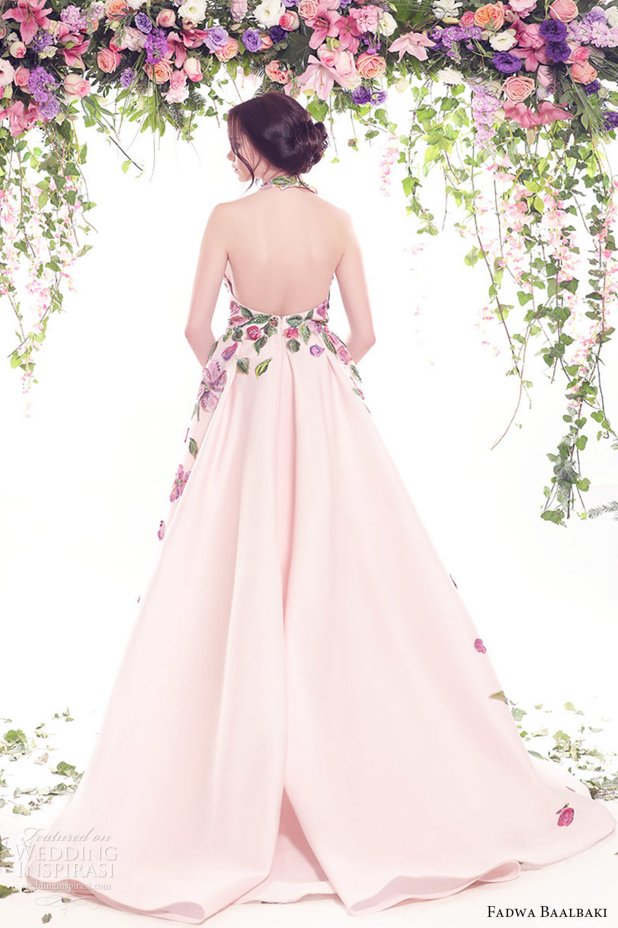 fadwa baalbaki spring 2016 couture halter neck multi color pink ball gown bv