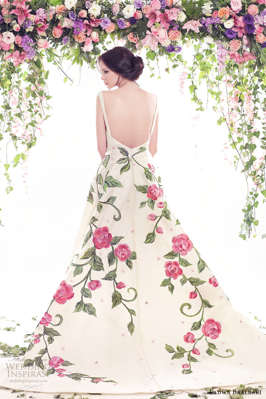 Fadwa baalbaki spring summer 2016 fleur bleue couture for Floral wedding dresses with color