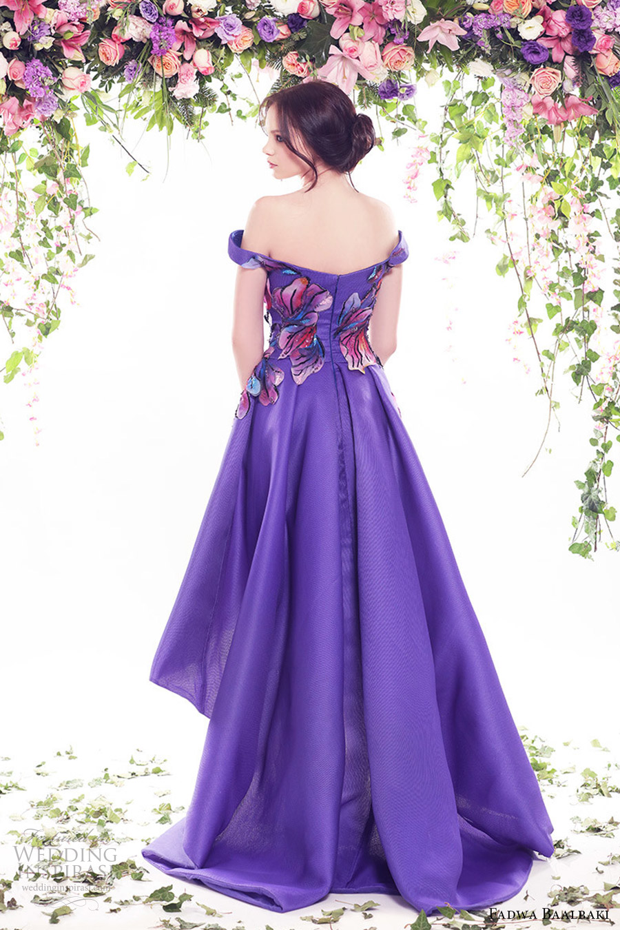 fadwa baalbaki spring 2016 couture off shoulder high low purple color floral evening cocktail dress bv