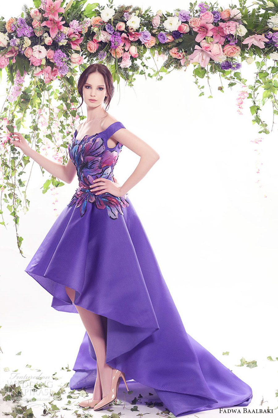 4db72bffa83b fadwa baalbaki spring 2016 couture off shoulder high low purple color  floral evening cocktail dress mv