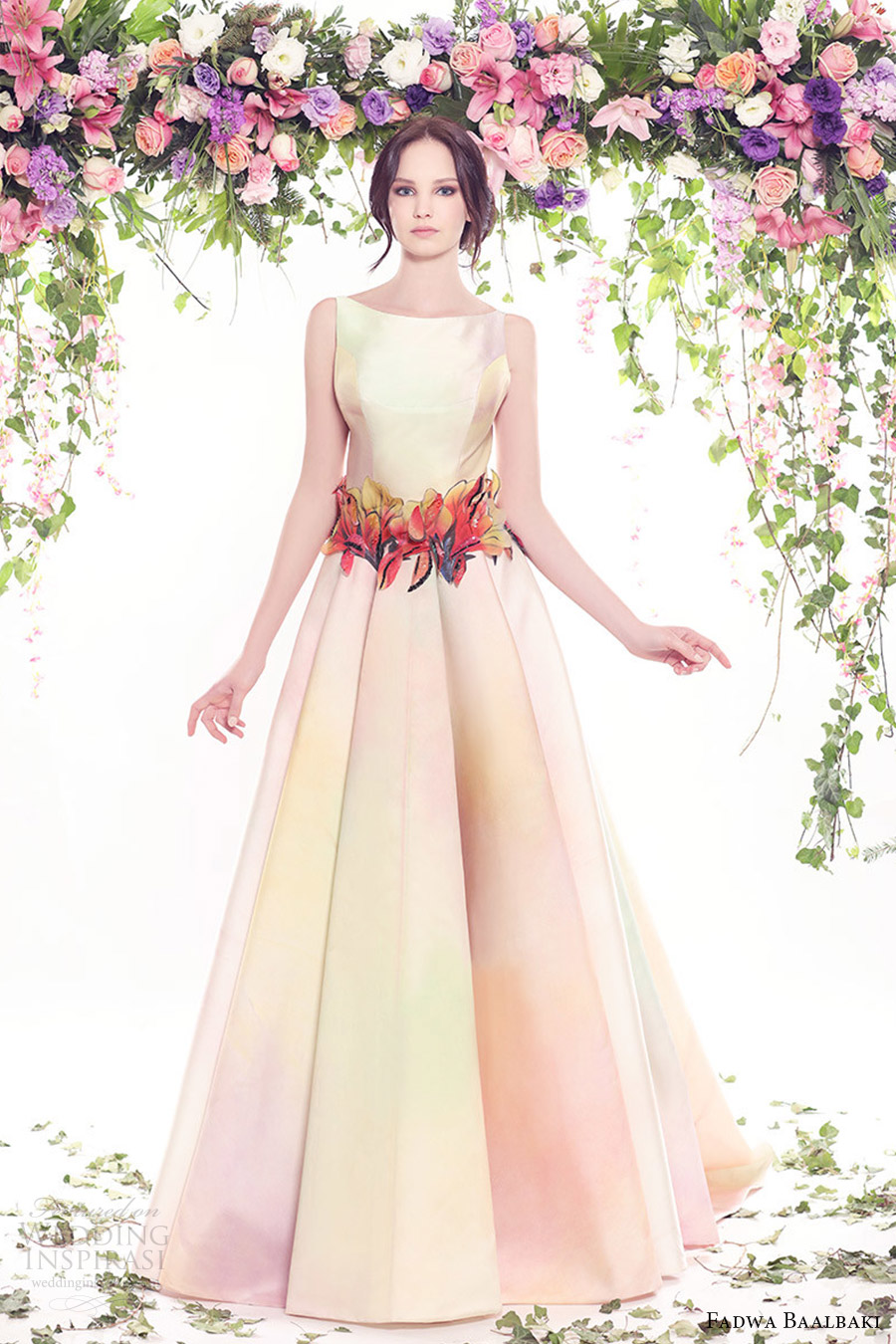 fadwa baalbaki spring 2016 couture sleeveless bateau neck ball gown multi color floral mv