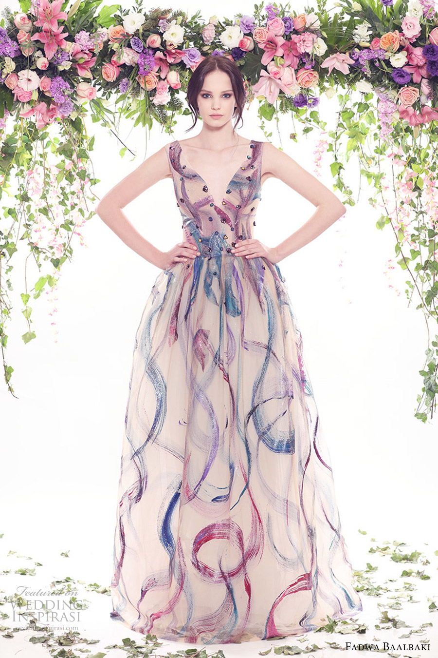 fadwa baalbaki spring 2016 couture sleeveless v neck multi color ball gown dress mv