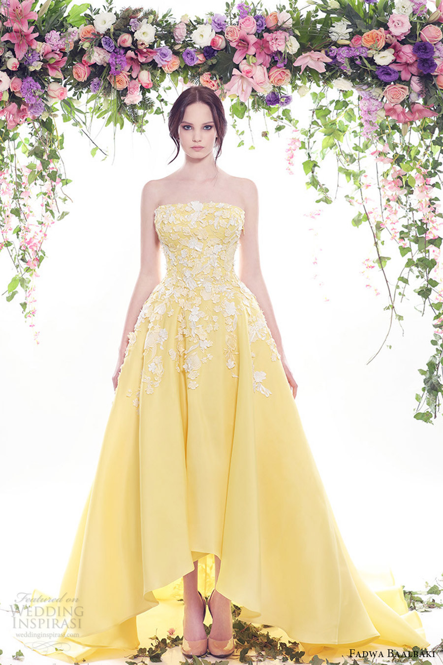 Fadwa baalbaki spring summer 2016 fleur bleue couture for Yellow dresses for weddings