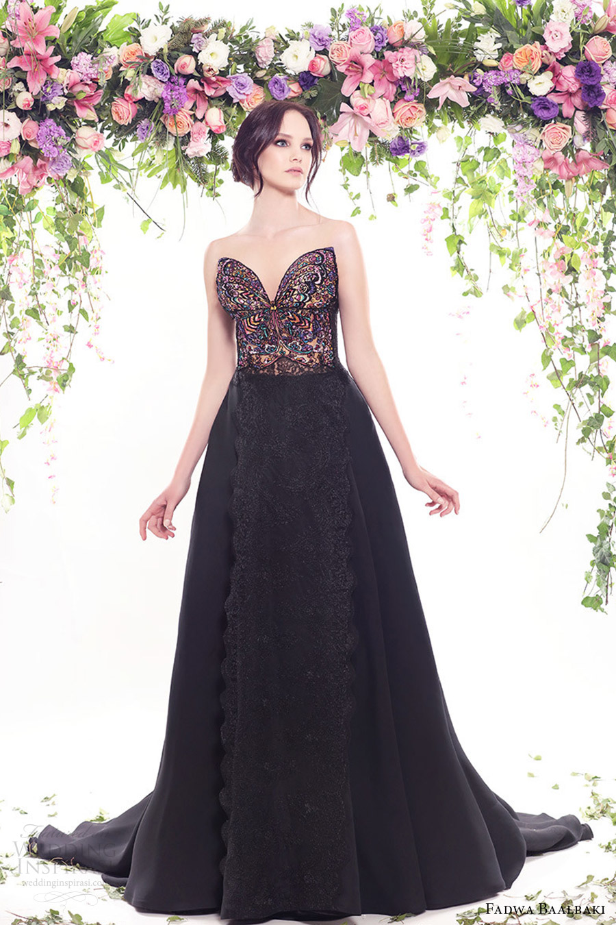 fadwa baalbaki spring 2016 couture strapless sweetheart black ball gown multi color bodice mv