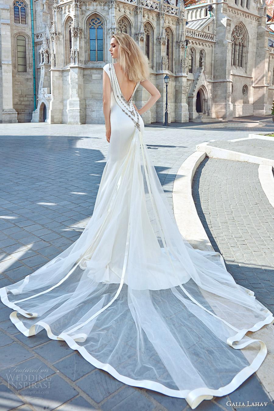galia lahav fall 2016 bridal cap sleeve illusion boat neckline embellished neck cutout trumpet wedding dress (juliana) modern glam bv low back medium train