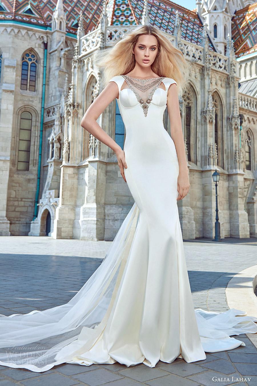 galia lahav fall 2016 bridal cap sleeve illusion boat neckline embellished neck cutout trumpet wedding dress (juliana) modern glam mv