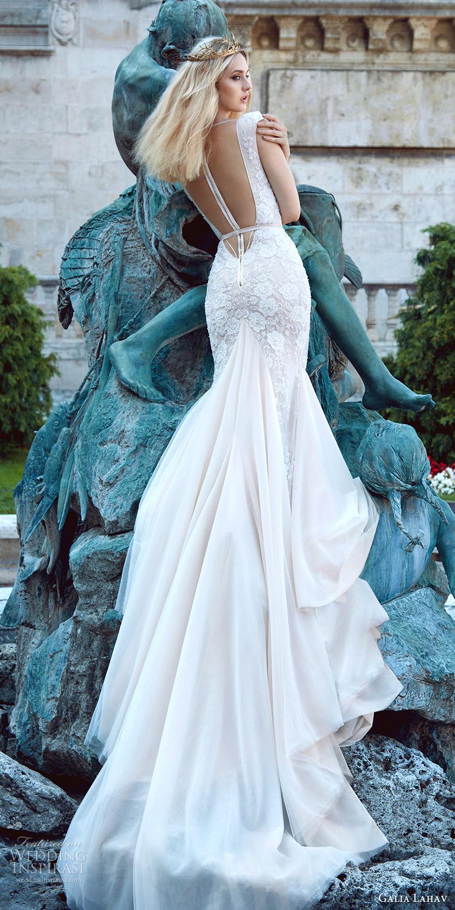 galia lahav fall 2016 bridal cap sleeves deep v neck trumpet lace wedding dress (roxanne) romantic princess bv illusion low back train