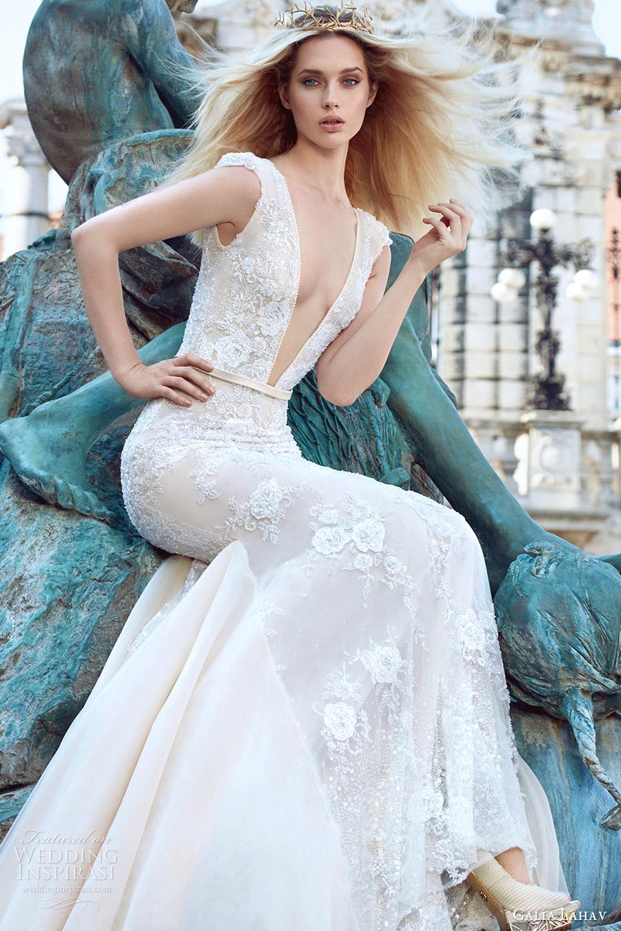 galia lahav fall 2016 bridal cap sleeves deep v neck trumpet lace wedding dress (roxanne) romantic princess mv