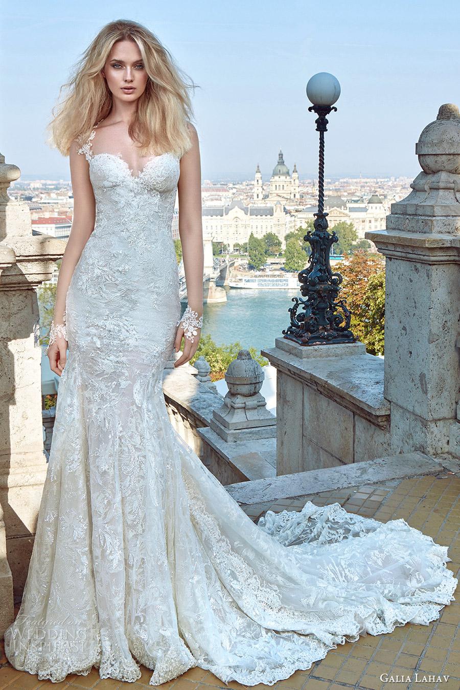 galia lahav fall 2016 bridal cap sleeves sweetheart sheath lace wedding dress (gwen) mv romantic elegant medium train