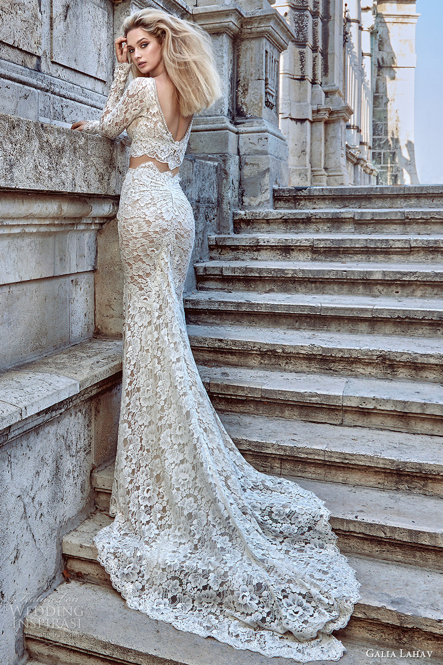 Galia Lahav Fall 2016 Bridal Long Sleeves V Neck Sheath Lace Wedding Dress Morgan