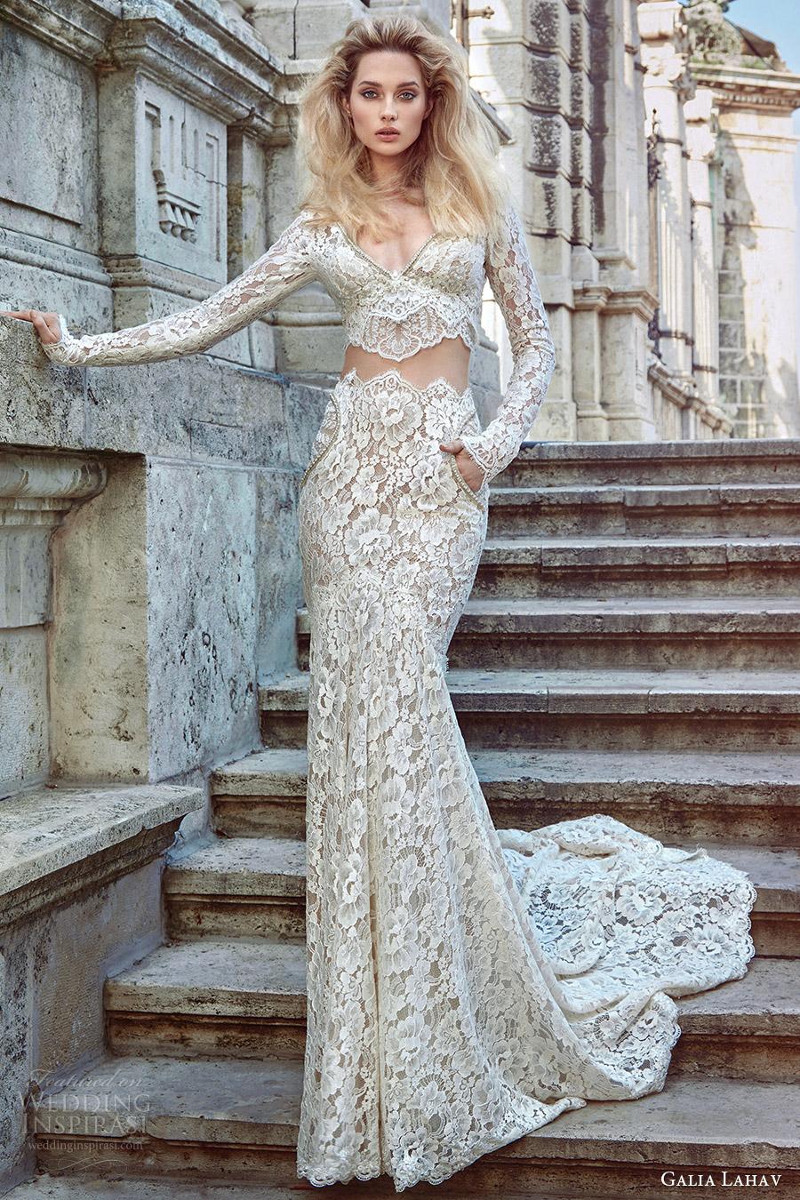 galia lahav fall 2016 bridal long sleeves v neck sheath lace wedding dress (morgan) mv elegant edgy pockets