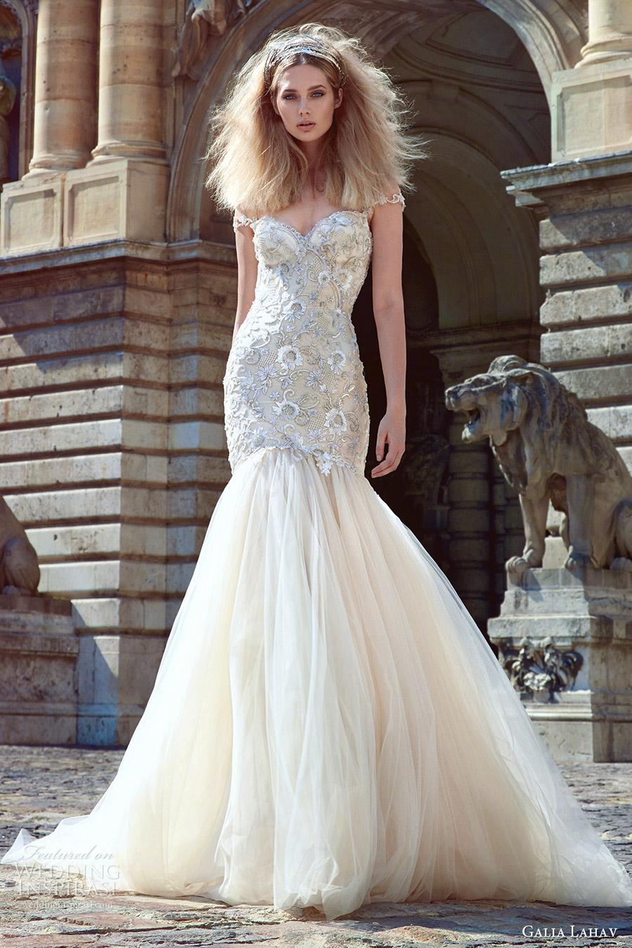 galia lahav fall 2016 bridal off shoulder straps sweetheart fit flare wedding dress (adeline) mv romantic elegant