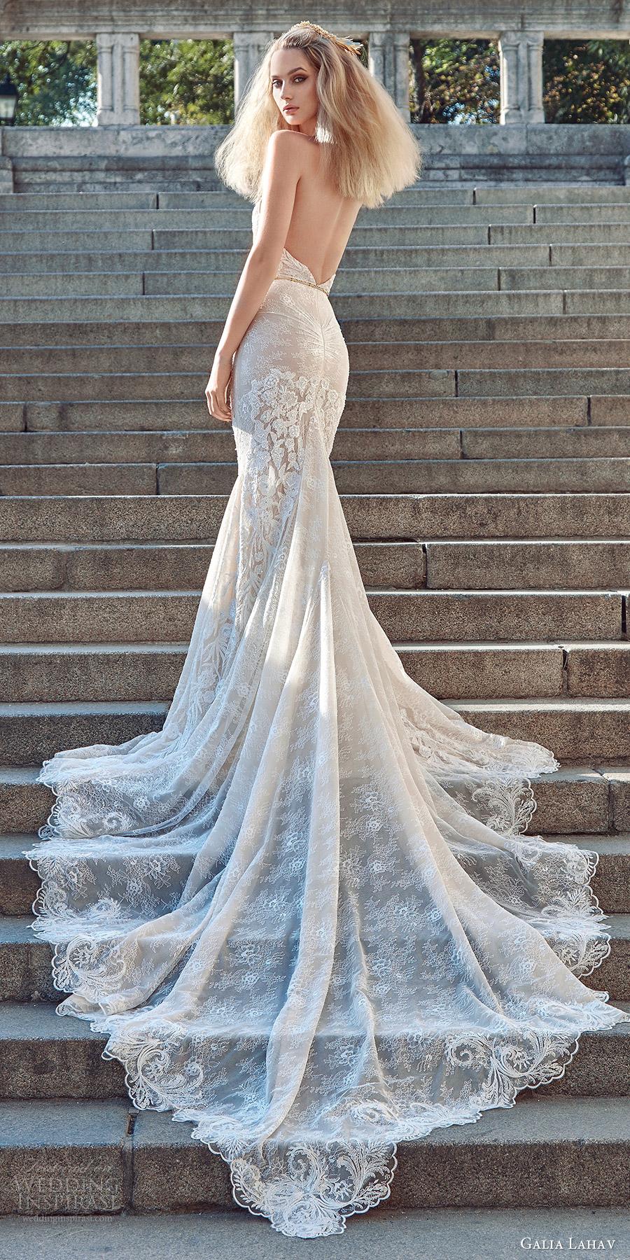 galia lahav fall 2016 bridal sleeveless halter neck sheath lace wedding dress (victoria) bv sexy glam open back long train