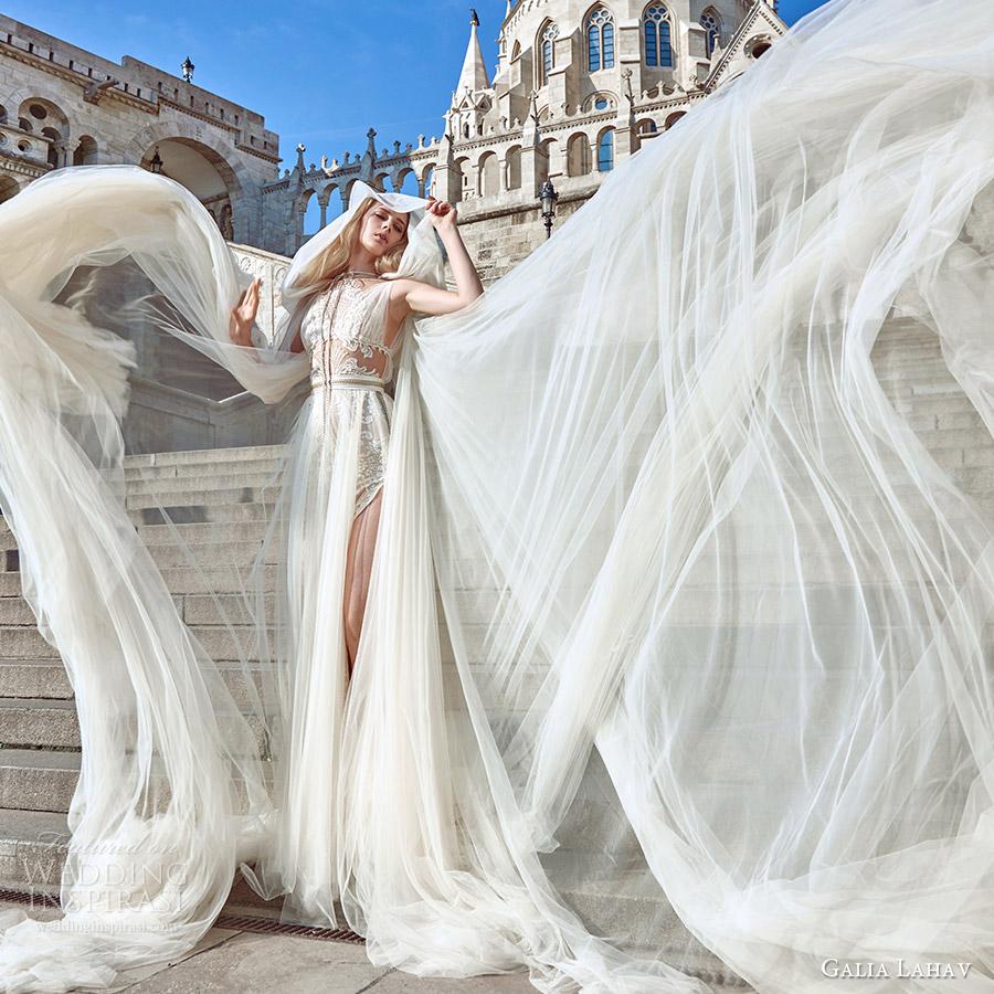 galia lahav fall 2016 bridal sleeveless illusion jewel neck draped straps illusion bodice a line overskirt wedding dress (flavia) grecian edgy fv elise cape