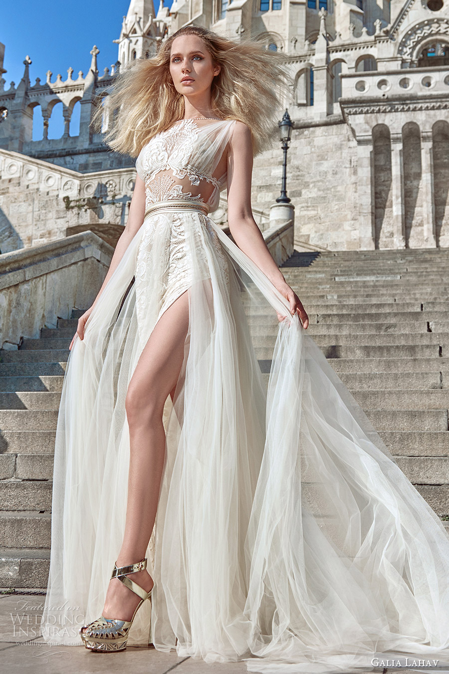 galia lahav fall 2016 bridal sleeveless illusion jewel neck draped straps illusion bodice a line overskirt wedding dress (flavia) grecian edgy mv
