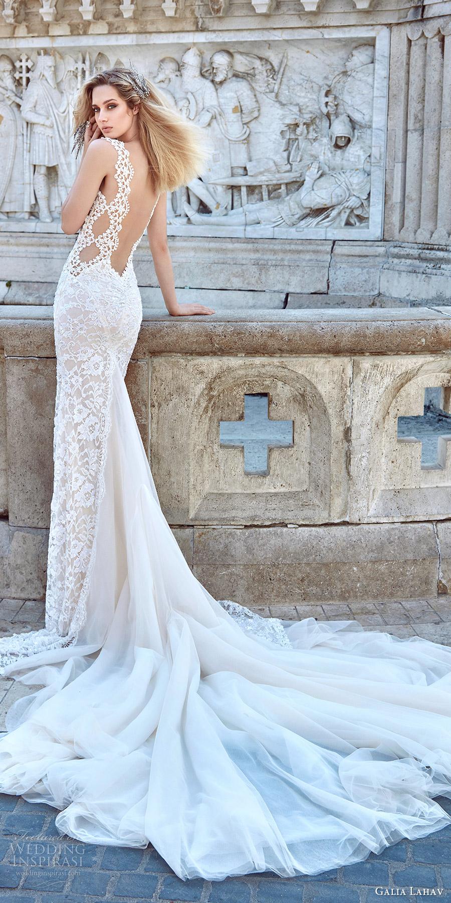 galia lahav fall 2016 bridal sleeveless lace strap sweetheart sheath lace wedding dress (aurora) bv sexy glam low back train